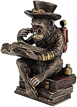 XoticBrands Decorative 7.68 Inch Steampunk Chimpanzee Scholar-Animal Statue Bronze