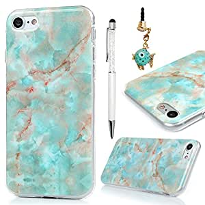 iPhone 7, iPhone 8 Marble Case, IMD Frosted Series Color Marble Pattern Slim-Fit Ultra-Thin Anti-Scratch Shock Dust Proof Anti-Finger Print TPU Case for iPhone 7, iPhone 8 by MOLLYCOOCLE, Green