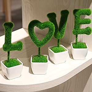 Emulation Flower Garden Mini potted plants stars heart-shaped straw ball green-shik Home Decor With Gift 21
