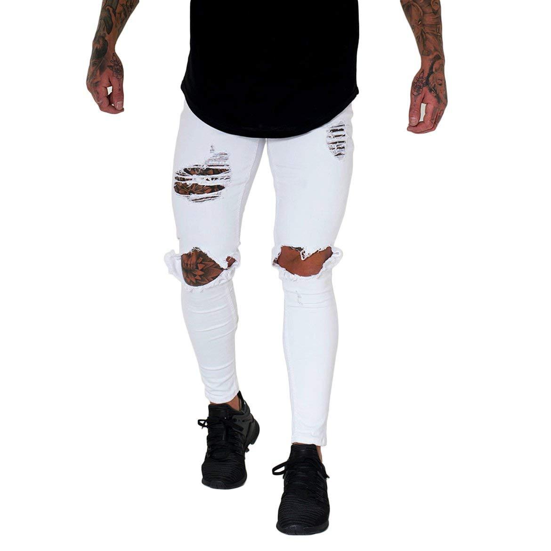 Libertroy Pantalones Vaqueros para Hombres de Verano ...