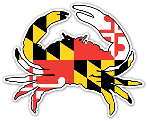 Maryland Crab State Flag Bumper Sticker Decal 4x5 - Maryland Peel