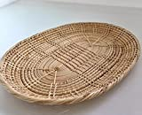 "Handmade Rattan Woven Oval Tray 10"" for serving home kitchen décor."