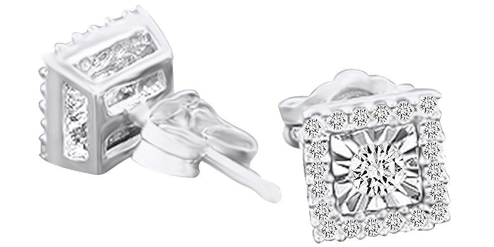 1 Karat Rundschliff Weißszlig; natürlicher Diamant Quadratisch Ohrstecker in 14 ct 585 Massiv Weißszlig; Gold 14 Karat (585) WeißGold