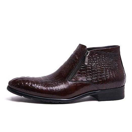 HNM Boots Hombres Botines Patrón de Cocodrilo Zapatos Cuero Dedo del pie Puntiagudo Negro marrón Chelsea Tobillo Botas Boda Formal Otoño Invierno Talla ...