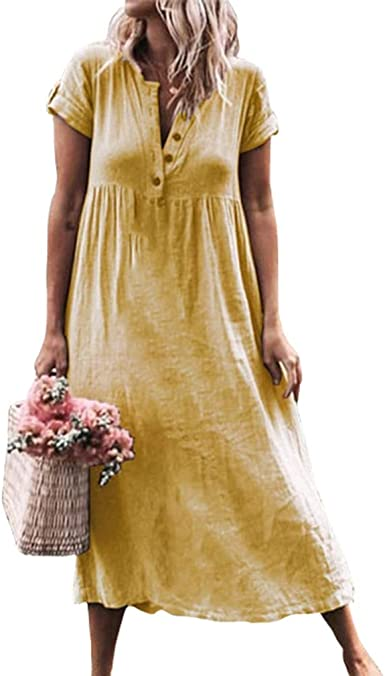 Mujer Flojo Vestidos Largo Elegante Cuello V Color Sólido Lino Vestido Camisero Playero para Cóctel Fiesta Noche S-5XL: Amazon.es: Ropa y accesorios