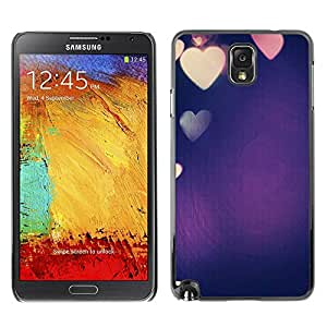 PC/Aluminum Funda Carcasa protectora para Samsung Note 3 N9000 N9002 N9005 colorful blue purple heart love lights / JUSTGO PHONE PROTECTOR