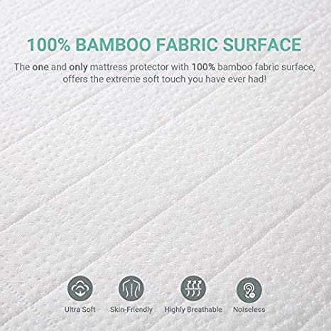 Vinyl Free Recci Premium Bamboo Mattress Protector Twin XL Size Hypoallergenic 100/% Bamboo Fabric Surface Mattress Cover Waterproof Bed Cover Twin XL