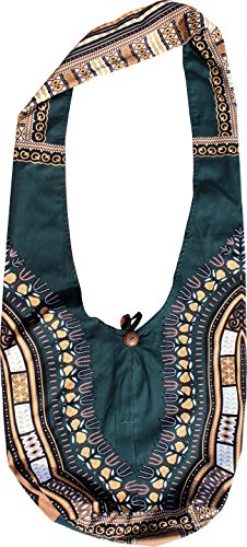 RaanPahMuang Reversable Dashiki Pattern Monks Shoulder Bag Long Strap, X-Large, Green Brown & Red by Raan Pah Muang