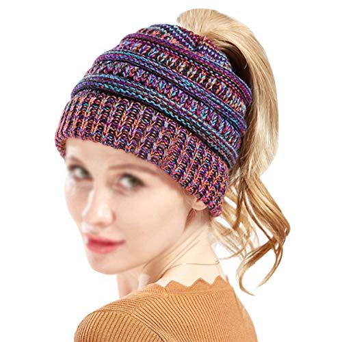 Sherry Women Knitted Ponytail Beanie Hat Winter Warm Stretch Messy High Bun Cap Orange+Purple