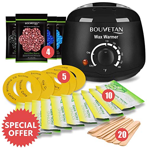 Wax Warmer, Bouvetan Hair Removal Waxing Kit with 4 Scents Hard Wax Beans(3.5oz/Pack) + 20 Wax Applicator Sticks + 5 Protective Collars + 10 Aloe Vera Wipes (Professional-grade Home Wax Kit)