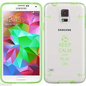 Green Samsung Galaxy Ultra Thin Transparent Clear Hard TPU Case Cover Keep Calm and Play On Soccer (Green for S3)