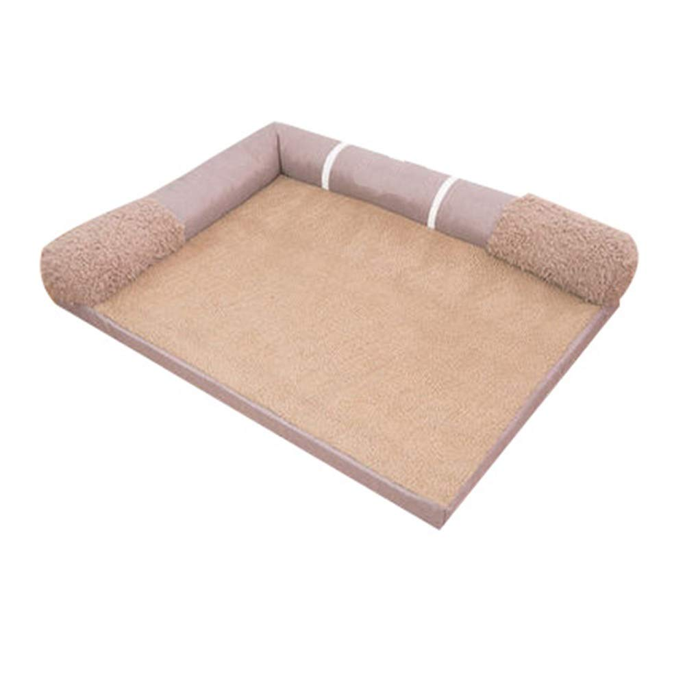Brown 80x60x16cm Brown 80x60x16cm ZWYGXL Kennel Dog Pad Summer golden Retriever Dog Large Dog Pet Bed Supplies Moisture Absorption Breathable Washable (color   Brown, Size   80x60x16cm)