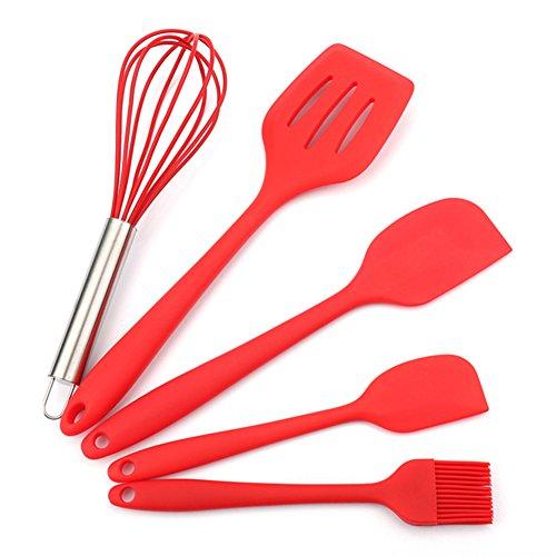 Utensilios de cocina de silicona antiadherente resistente al calor Utensilios de cocina Juego de espátulas cucharas...