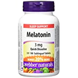 Webber Naturals Melatonin Easy Dissolve Sublingual Tablet, Peppermint, 3mg