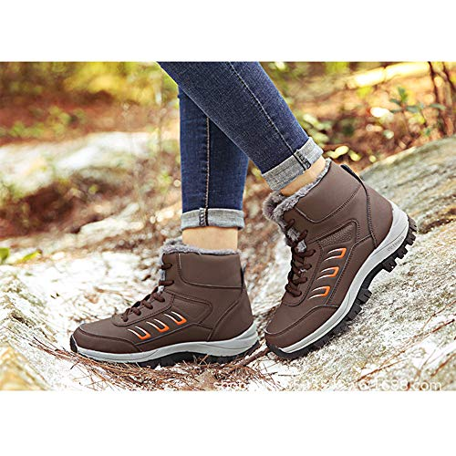 Bozevon Bottes De Sports D'hiver Pour Femmes - Chaussures Coton L'extérieur Randonnée Neige Épaisses Marron
