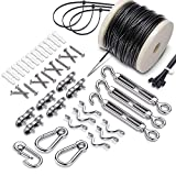 Upgrade Stainless Steel Globe Lights Hanging Kit,String Light Suspension Kit,Outdoor Light Guide Wire,Include 164 FT Wire Rope Cable,Turnbuckle and Hooks