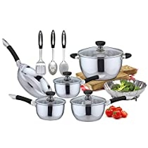 Pearington 13 Piece Essential Stainless Steel Cookware Set