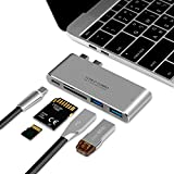 """USB C Hub Macbook Pro 2017, WEIO New Aluminum Multi-Port USB C Adapter for MacBook 13"""" or 15"""" 2016/2017 Type C Adapter Type C Hub with 40Gbs Thunderbolt 3 Port SD Micro SD TF Card Reader and 2 USB 3.0"""