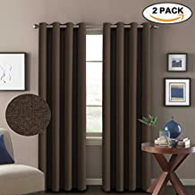 H.VERSAILTEX 1 Pair Classic Grommet Thermal Insulated Heavy Weight Rich Textured Linen Like Blackout Extra Long Patio Curtains&Drapes,108 Inch Length-Dark Brown