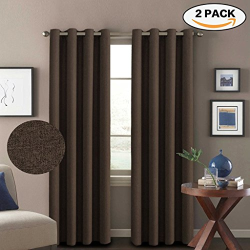 H.Versailtex (1 Pair) Classic Grommet Thermal Insulated Heavy Weight Rich Textured Linen Like Blackout Extra Long Patio Curtains&Drapes,108 Inch Length-Dark Brown