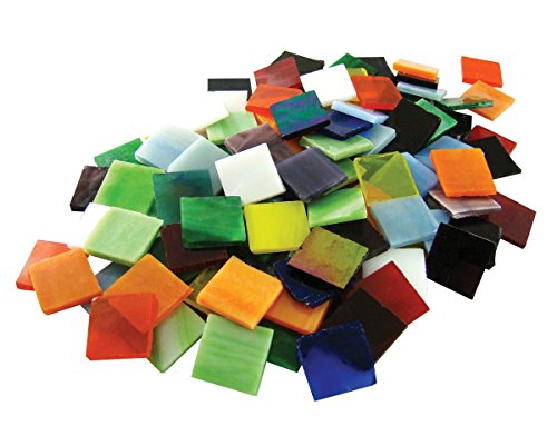 School Specialty Stained Glass Mega Square Mosaic Tile, 3/4 X 3/4 in, Assorted Color, 8 lb Bag, Pack of 900