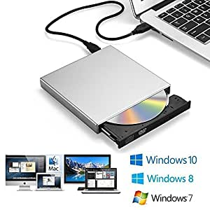 zacfton unidad de CD externa USB 2.0 Slim External grabador de reproductor de DVD-R