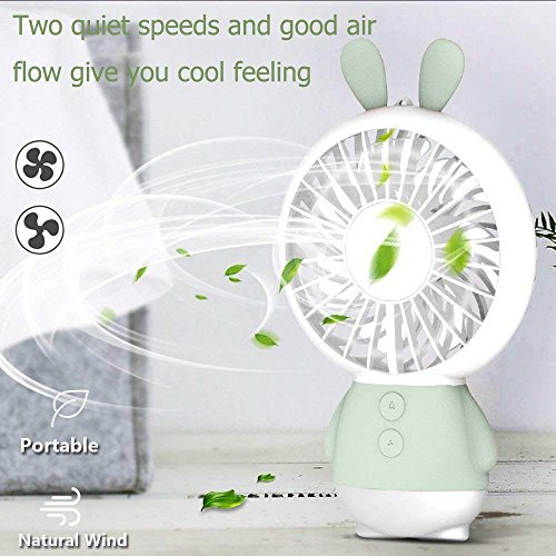 RingRingshop®® Handheld Small Fan Portable Rechargeable Mini Cooling Fan Multi-color LED Light Linglong rabbit Fan Standable Hanging Fan Gifts for Home Travel Indoor Outdoor Baby Kids (Green Rabbit) by RingRingshop® (Image #1)