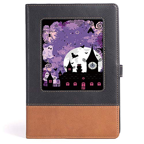 Classic Retro Hardcover Business Student Notebook - Vintage Halloween - Business Notepad Daolin Paper - Halloween Midnight Image with Bleak Background Ghosts Towers and Bats Decorative - 100 Ruled She