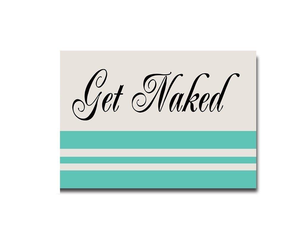 Teal Stripe Black Get Naked With Light Blue Home Bathroom Bath Shower Bedroom Mat Toilet Floor Door Mat Rug Carpet Pad Doormat 18x30inch
