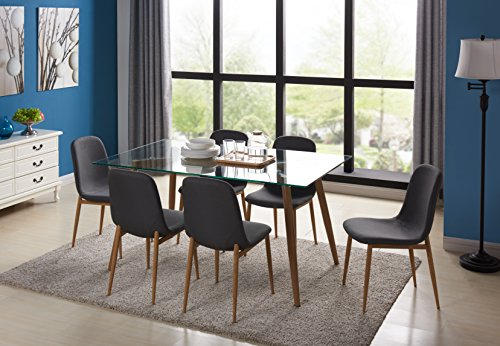Kitchen Dining Table Set for 6 With Glass Top Extra Thick and Dining Side Chair Wooden Look Leg With Fabric Cushion Seat