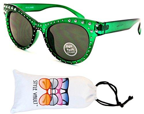 Crystal Green Sunglasses (E19-vp Style Vault Sharp Cateye Sunglasses (U3012S Crystal Green-Green Lens, gradient))