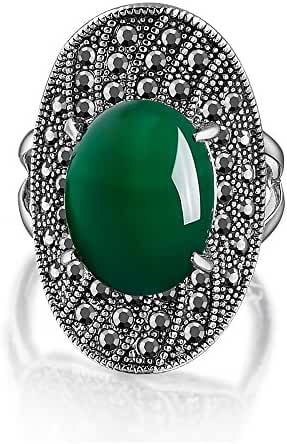 Mytys Retro Vintage Black Marcasite Crystal with Emerald Resin Oval Rings