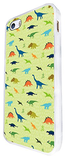 1553 - Cool Trendy Fun Cute Dinosaur Triceratops T-Rex Prehistoric Design iphone SE - 2016 Coque Fashion Trend Case Coque Protection Cover plastique et métal - Blanc
