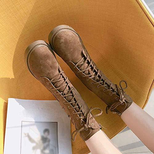Chaussures Cheville Classiques Boot Femme Lacets Impermeables Marron Manadlian De Cuir Bottes Chaudes Vintage La Rétro Martin Combat nYqvAfOx