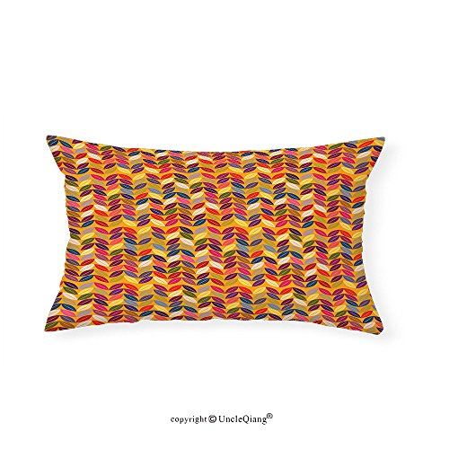 VROSELV Custom pillowcasesAbstract Zigzag Chevron Geometric Forms with Psychedelic Wavy Lines and Circle Dots Image for Bedroom Living Room Dorm Multicolor(20''x30'') by VROSELV