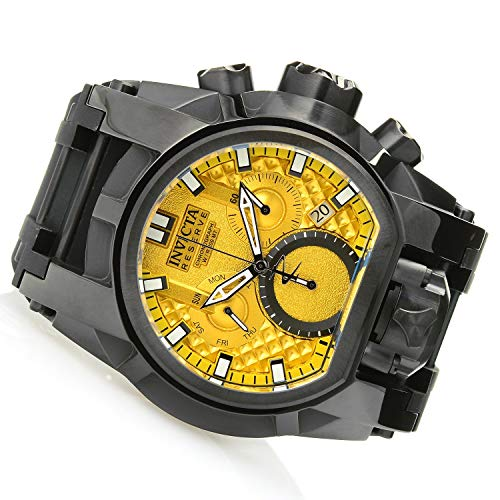 Men's Reserve Stainless Steel Quartz Watch with Silicone Strap, Black, 34 (Model - Invicta 26716