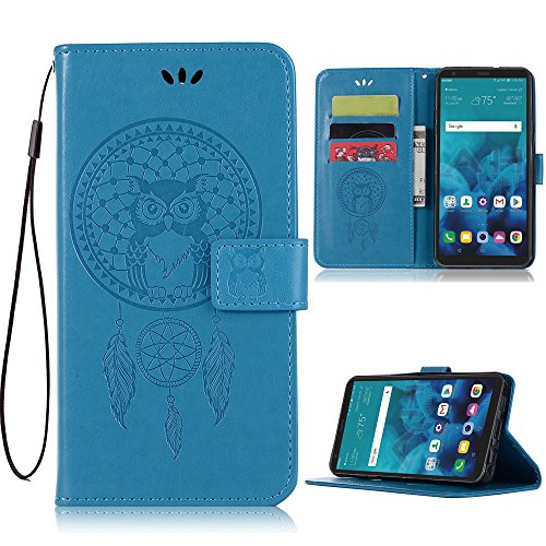 Price comparison product image ARSUE LG Stylo 4 Case, LG Stylo 4 Plus Phone Case, LG Q Stylus 4 Wallet Case, PU Leather Wallet Flip Case with Credit Card Holder and Kickstand Dreamcatcher Phone Cover for LG Stylo 4 Plus / Q Stylus, Blue