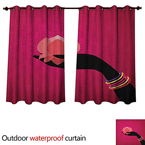 (Anshesix Lotus Outdoor Ultraviolet Protective Curtains Silhouette of Woman Hand with Bangles Holding a Japanese Flower Asian Folklore Design W55 x L72(140cm x 183cm))
