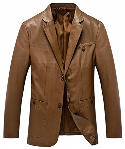 Men Formal Coat Faux Comfy UK Blazer Jacket Button Two 1 Leather today OBgqSx5w