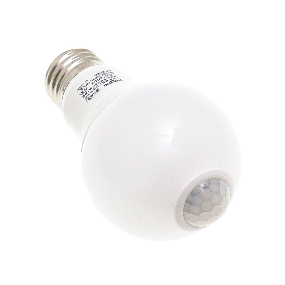 【人感・明るさセンサー付】LED電球 E26口金 400lm 5W 白色(4000K) (1個入り)【明るさ10ルクス以下で動作・中途半端に日中点灯しません】