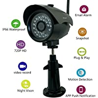 Sumpple Wifi Wireless/Wired 720P Digital Video Outdoor/Indoor IP Network Camera, Night Vision, IP66 Waterproof, Video Record, Snapshot, Motion Detection, Email Alarm, Support IOS, Android or PC Black