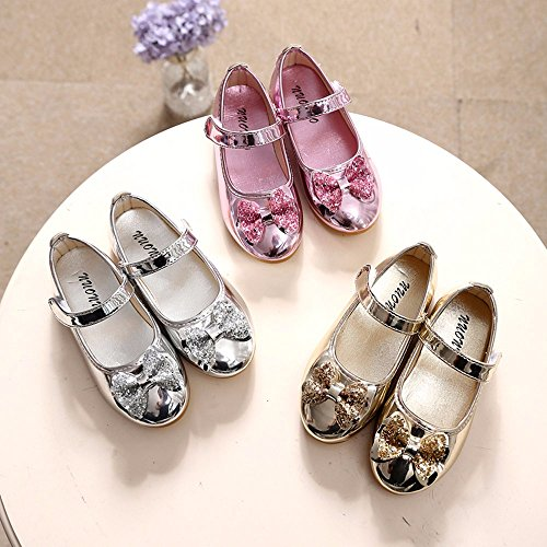 Sparkle Princess Shoes for Girls Sequin Bowknot Flat Shoes Children Velcro Shinning Shoes Mary Jane Princess Party Dress Shoes for Toddlers & Girls by DaoAG - Shoes (Image #7)