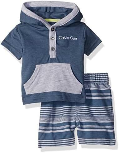 Calvin Klein Baby Boys' 2 Pieces Hooded Short Set-Kangaro Pockets
