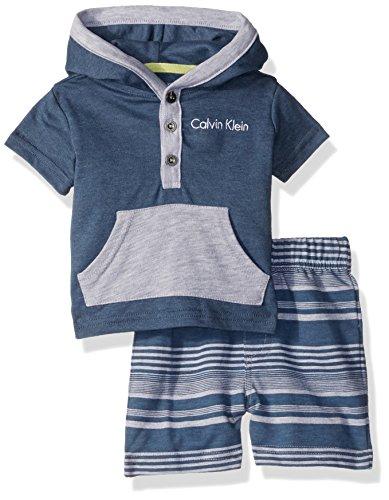 Calvin Klein Baby Boys 2 Pieces Hooded Short Set-kangaro Pockets