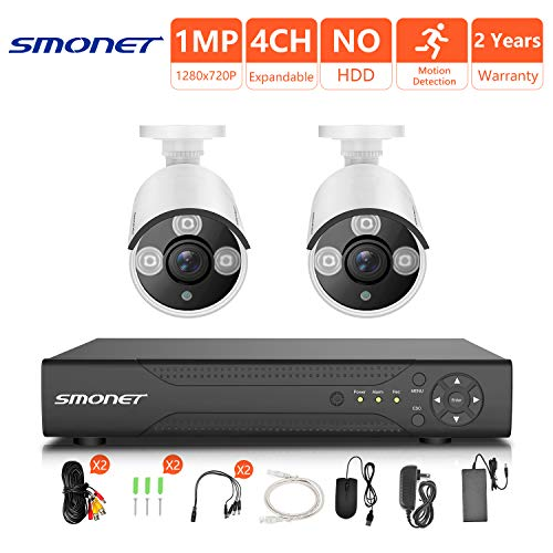 [4CH Expandable] HD Outdoor Surveillance Camera System,SMONET 4CH 1080N Security Camera System(DVR System),2pcs HD CCTV Cameras,Home Security Camera System for Outdoor and Indoor Use, NO Hard Drive by SMONET
