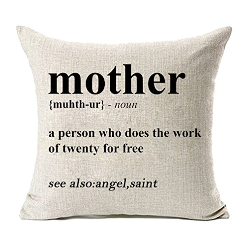 MFGNEH Mother Definition- A Person Who Does the Work of Twenty for Free Cotton Linen Pillow Covers, Mother's Day Gifts Throw Pillow Case Cushion Cover 18 x 18 Inches,Mom Gifts - Mothers Day Pillow