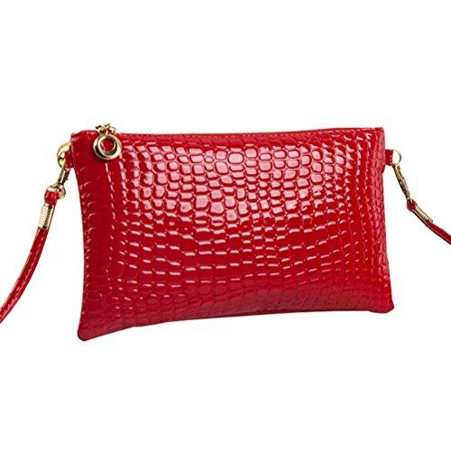 Amybria Women PU Leather Handbag Shoulder Bags Tote Satchel Messenger Red