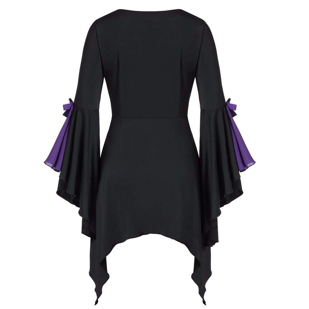 Fashion Applique Flowy Chiffon Tops Womens Casual V-Neck Long Sleeve Blouse