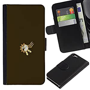 JackGot ( Steampunk Sproket ) Apple (4.7 inches!!!) iPhone 6 / 6S la tarjeta de Crédito Slots PU Funda de cuero Monedero caso cubierta de piel