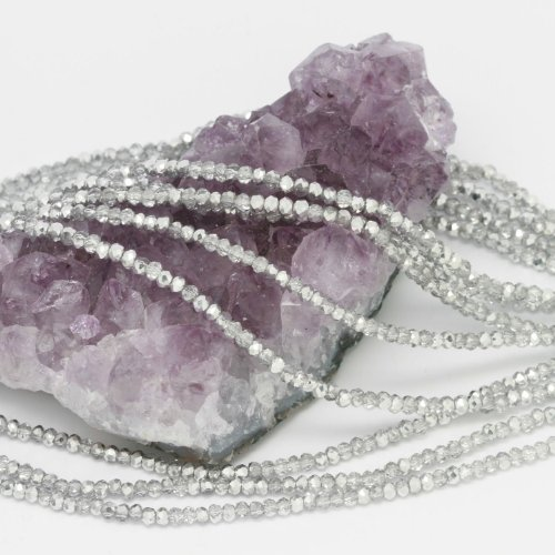 Round Beads Crystal Faceted Chinese (100 pcs 3x2mm Chinese Crystal Glass Beads Faceted Rondelle Clear Metal Silver)